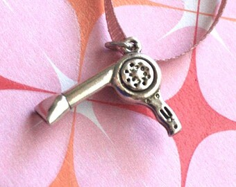 Sterling Silver (.925) Charm Selection ~ Beauty Salon Hair Dryer ~ Last Time Listed
