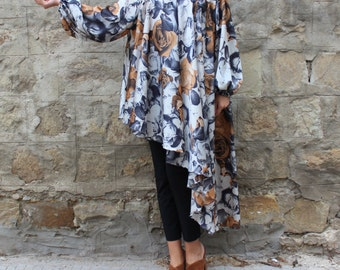 Maxi top/ Maxi tunic/ Plus size top/ Floral maxi tunic/ Plus size Tunic/ cover up dress/ cover up/ plus size clothing/ Long sleeve tunic