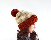 SALE Chunky Slouchy Pom Pom Ski Hat Beanie Toque // The Aspen // in Oatmeal and Spice