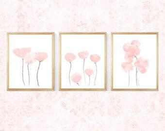 Blush Flower Prints, Set of 3- 8x10, Blush Wall Decor, Petal Pink Wall Decor, Blush Pink Flower Prints, Pale Pink Artwork, Blush Nursery