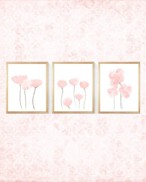 Blush Flower Prints for Nursery, Set of 3- 8x10