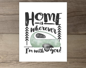 Teardrop trailer watercolor print • Home is wherever I'm with you • black white mint • Home Decor • DIY printable