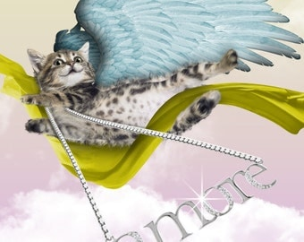 Cat Angel: Tiger Kitty Amore Love Valentine Blank Card