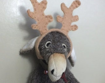 Mohair Donkey Christmas Reindeer - vintage style - handmade - collectable teddy - MADE TO ORDER