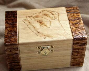 Praying hands wood burned box