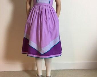 vintage chevron panel dress | 1970s lilac dress | cotton dress