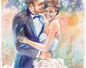 Personalized Wedding Gifts--Custom Portrait Watercolor Painting for Anniversary for Him by Kristin Glaze van Lieshout