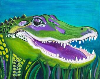 Happy Alligator Print of the Original Painting