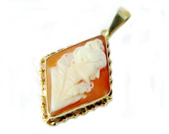 Gold Cameo Necklace Pendant 14K European Edwardian Style Portrait Pink Shell Carved Cameo Jewelry For Women Coupon Sparkle2017 15% Discount