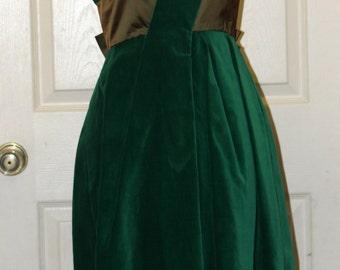 1950s Kay Selig Velvet Dress - Party Dress - Designer Dress - Olive Satin - Size 12