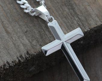 Mens Cross necklace. Sterling silver cross necklace, Elegant unisex, men Cross Jewelry, Man cross Pendant, Plain Classic silver cross,L-5142