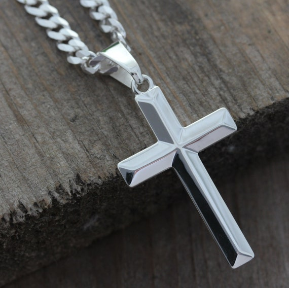 mens cross necklace sterling silver cross necklace