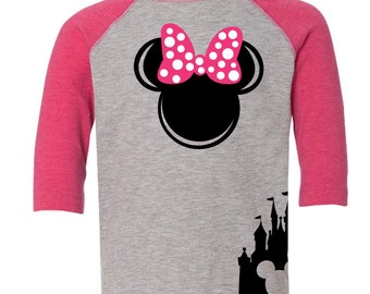 Custom Disney Inspired Minnie Mouse Birthday Shirt Ears with Name on Back