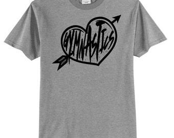 Gymnastics Heart Black Print Love Gymnastics Shirt Gymnast T Shirt