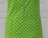 Vintage 1960's Shift Dress Lime Green And White Polka Dots