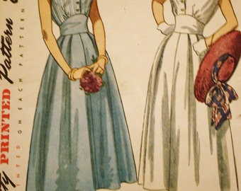 1950s Midriff Dress Pattern / Simplicity 2506 / Vintage Sewing Pattern /Bust 30