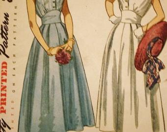 1950s Midriff Dress Pattern / Simplicity 2506 / Vintage Sewing Pattern /Bust 30