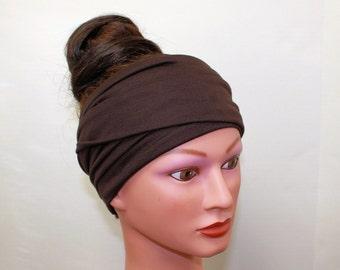 DARK BROWN Head Scarf - Extra Wide Headband - Jersey Hair Wrap - Yoga Headband - Workout Hair Accessory - Activewear - Jersey Head Scarf