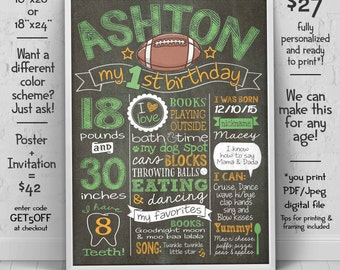 Football first birthday poster -  1st birthday Chalkboard - Football invitation (sold separately) - we edit u print birthday chalkboard sign