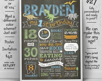 Dinosaur first birthday poster -  1st birthday Chalkboard - Dinosaur invitation (sold separately) - we edit u print birthday chalkboard sign