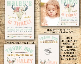 Young wild and three invitation  - 3rd birthday party invitation - Tribal invitation - Boho gypsy soul - You print third birthday invitation