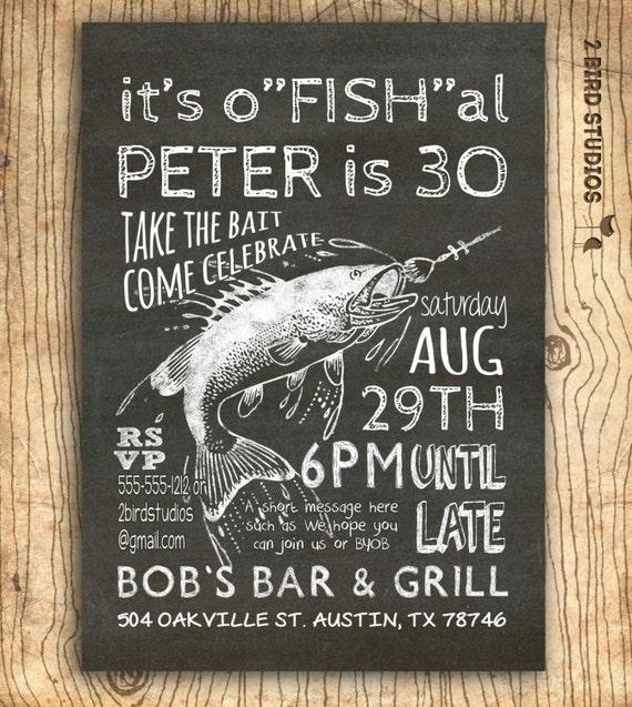 Fishing invitation 30th birthday invitation 40th 50th for Fishing birthday invitations