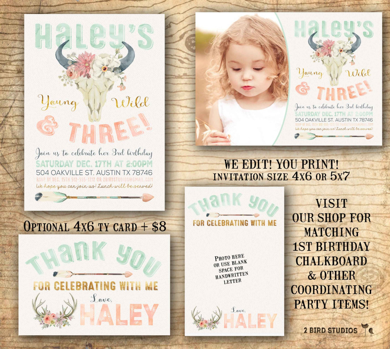Young wild and three invitation 3rd birthday party