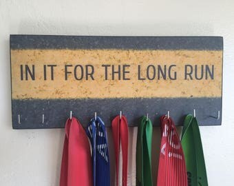 "Race Medal Holder /  Race Medal Hanger. ""In it for the Long Run"" Wood Wall Mounted Wood Organizer. CUSTOMIZATION Available"