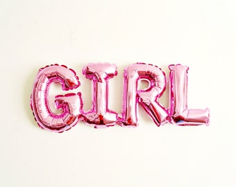 It's a GIRL balloon pink mylar - baby shower birth announcement gender reveal - Air Fill Only