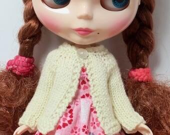 BLYTHE doll hand knit wool cardigan sweater - Classic cream