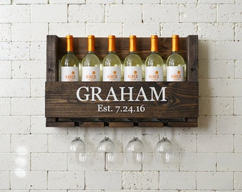 Wedding Gift Wine Rack - Wall Hanging - Personalized Gift Family Name - Housewarming - Anniversary Gift - Wedding Gift Personalized Wine