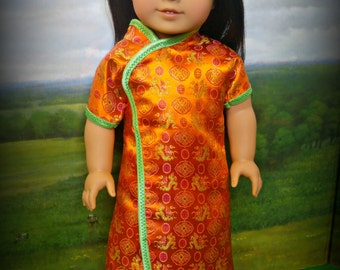 """Chinese New Year Outfit in Orange American Made to Fit Your 18"""" Girl Doll"""