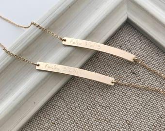 Personalized Skinny & Dainty Bar Bracelet - 14K Solid Gold Bar Bracelet, GPS Coordinates Bracelet, Skinny Engraved Bar Bracelet - dB3532r
