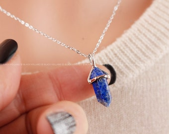 Lapis Lazuli Necklace,  Blue Lapis Point Pendant Necklace, Bridesmaid Gifts, Birthday Gifts
