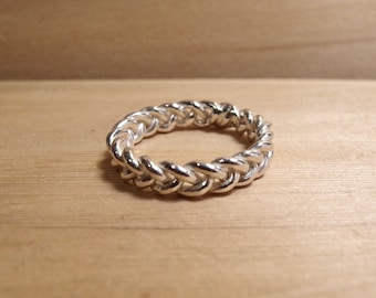 Sterling Silver Braid Ring - Thick - Stackable