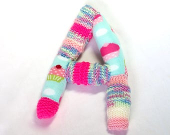 Knitted letter A, alphabet, sock letter A, initial letter, nursery art, pink alphabet sock toy