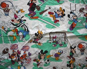 Vintage Walt Disney Mickey Mouse And Friends Bed Sheet. 80s Disney Cartoon Collectible 80s Bed Sheet. Donald Duck, Goofy, Mickey Sheet
