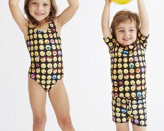 EMOJI (Black): Girl's Tank Swimsuit
