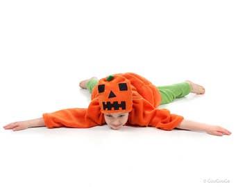 child pumpkin costume orange green baby toddler