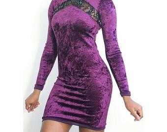 Aaliyah Beaded Lace Insert Grape Velvet Bodycon Dress