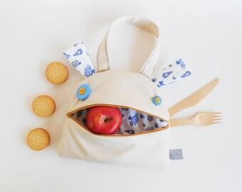 Lonchera zezling | Zé papa-merienda: bolsa de mano para niños | saco divertido | bolsa merienda escuela | bolso crema con muñecos azules