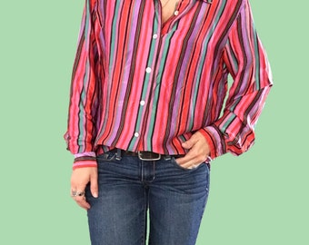 Striped Silky Blouse/ Pink Striped Blouse/ Striped Top/ Silk Blouse/ Purple Striped Top/ Green Striped Top/ Red Striped Top/ Vintage Silk
