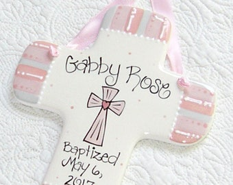 Baby Girl Baptism in Pink, Coral, and Gray Stripe // Personalized Baptism Cross with Cross
