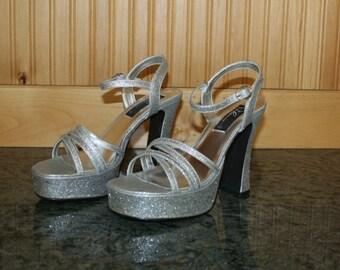 Vintage 90s Palomino Glitter Silver Platform Sandals Shoes