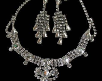BIG Vintage Unsigned WEISS Rhinestone Necklace & Waterfall Earrings Wedding Prom Set