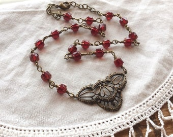 Gilded Rubies Statement Necklace - period necklace Victorian necklace ruby necklace