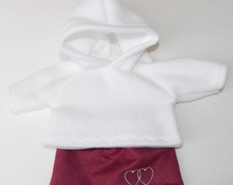 """bitty baby clothes, doll, girl or 15"""" twin, white hoodie,pink, embroidered, heart ,valentines day, skirt new, handmade adorabledolldesigns"""