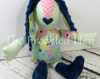 Stuffed animal bunny rabbit handmade doll stuffed easter bunny sensory toy easter bunny plush hand made doll minky blue lips free shipping
