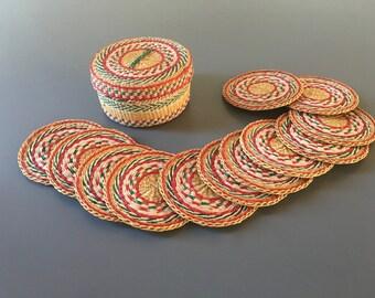 vintage woven coaster set boho set of 12