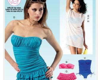 McCall's M6569 Misses' Bikinis, One-Piece Swimsuits and Cover-Up Sewing Pattern